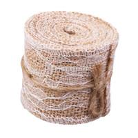 ingrosso artigianato a nastro di tela-Commercio all'ingrosso- Decorazione natalizia vendita calda tela di iuta Burlap Craft Ribbon Pizzo bianco per matrimonio vintage Home Decor 2M