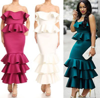 Wholesale Vintage Cocktail Dresses Sale - 2018 New Style Hot Sale Women Maxi Dress Evening Dress Ruffles Sexy Sheath Long Party Cocktail Dresses