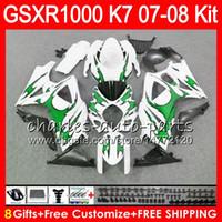 Wholesale Suzuki Gsxr K7 - 8 Gifts 23 Colors SUZUKI GSXR1000 Bodywork For 2007 2008 K7 13HM47 green flames GSXR-1000 07 08 GSX-R1000 GSXR 1000 07 08 Fairing Kit Body
