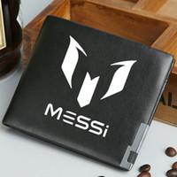 billeteras de fútbol al por mayor-Lionel Messi billetera Soccer star monedero Fútbol short largo caja de billetes en efectivo Dinero en blanco Bolso burse de cuero Titulares de tarjetas