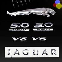 Wholesale 3d Abs - 3D chrome silver for Jaguar XF XJ XJL Letter boot Side door back trunk 3.0 5.0 v6 v8 type Rear emblem badge sticker