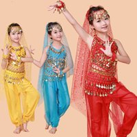Wholesale Indian Dance Costumes For Kids - Q228 Free Shipping Hot Selling Belly Dance Performance Bollywood Indian Child Costume Indian Dance Costumes For Kids