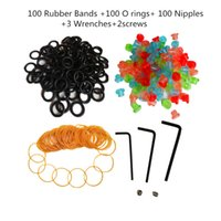 Wholesale Tattoo Nipples Grommets - Tattoo Supplies 100 Needle Grommets Nipples + 100 Rubber Bands + 100 O-Rings + 3 Wrench Tattoo Kit (Color: Multicolor)