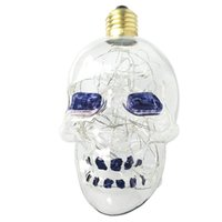 Wholesale Vintage Edison Bulb E27 Base Filament Skull Spiral Design LED Lights for Christmas Home Party Cafes Bars Decoration Warm White