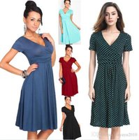 Wholesale Works Bell - Womens Vintage Pinup Rockabilly Bow V Neck Polka Dot Career Casual Work Party Sheath Wiggle Pencil Dress 2901
