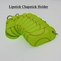 Wholesale Make Keys - Baseball or Softball Chapstick Leather Holder Key Fob (make great gifts)