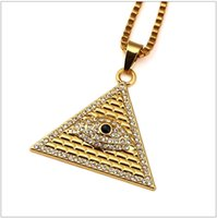 Wholesale Horus Eyes - Gold Illuminati Eye Of Horus Egyptian Pyramid With 23.6 Inch Chain For Men Women Pendant Necklace Hip Hop Jewelry Free shipping