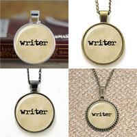 ingrosso vecchi segnalibri-10pcs Writer Writer Old Paper Collana portachiavi segnalibro gemello braccialetto orecchino