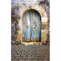 ingrosso fotografia di pittura leggera-Digital Painted Light Blue Porta in legno Vinyl Background Vintage Old Wall Bambino neonato Photo Shoot Puntelli Bambini Bambini Photography Fondali