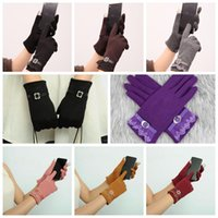 Wholesale Fall Fashion Gloves - 7 Colors Womens Touch Screen Gloves Ladies Winter Warm Elegant Lace Splice Warm Gloves Riding Cashmere Mittens 2pcs pair CCA7921 300pair