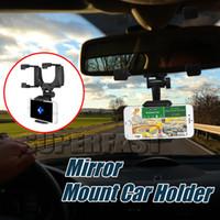 espejos retrovisores gps al por mayor-Soporte de coche ajustable con montaje en espejo Soporte universal para teléfono con vista trasera del coche para soporte universal de rotación para teléfono inteligente Soporte para GPS con caja al por menor