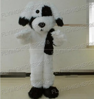 Wholesale White Dog Mascot Suit - Higher quality Black and white plush dog Mascot Costume for adults christmas Halloween Outfit Fancy Dress Suit Free Shipping