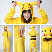 Wholesale onesies kigurumi pajamas - Lovely Pikachu Fashion Yellow Outfit Pajamas Kigurumi Cosplay Costume Flannel Pyjamas Onesies Adult Romper Fancy Nightwear CCA7005 10pcs