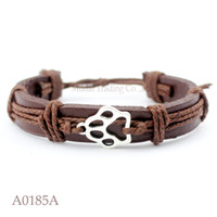 Wholesale Antique Cat Plate - ANTIQUE SILVER DOG PAW CAT PAW CHARM Adjustable Leather Cuff Bracelets for Men & Women Friendship Casual Jewelry