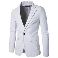 Wholesale White Leather Coats For Men - Male casual Jackets Pu Leather Jacket fashion slim Blazer outerwear men's red white black khaki color coat clothing for singer dancer show