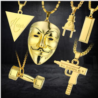 Wholesale 2017 New Punk Mask Plug Supreme Gold Silver Metal Submachine Hatet Maxi Pistol Necklace Pendants Hip Hop Jewelry for Men Women