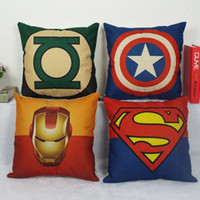 Wholesale Chair Covers Linens - Hot Sale American Pop Style Super Heros Cushion Cover Captain America Superman Iron Man Batman Pillow Covers Sofa Chair Linen Pillow Case