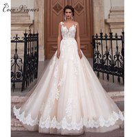 Wholesale Plus Size Romantic Wedding Dresses - C.V New Sexy A-Line Plus Size Lace Wedding Dress 2017 Romantic Illusion Sheer Neck Backless Arab Bridal Dresses robe de mariée W0047