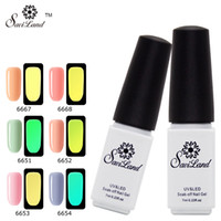 Wholesale Uv Glow Nail Polish - Wholesale-Saviland Glow In The Dark Light Soak Off UV Gel Nail Polish Fluorescent Neon Luminous Esmalte Shine Varnish Nail Art Tools