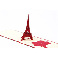 Wholesale origami 3d pop up gift resale online - 3D Greeting Card Romantic Eiffel Tower hollow Creative Kirigami Origami D Pop UP Gift Cards hot sale