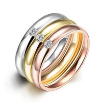 placa de diamante inoxidável venda por atacado-Partido lindo anéis 18k banhado a ouro 3 círculos inlay diamante anéis de zircão anel de aço inoxidável tamanho da mistura
