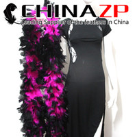 Wholesale Wholesale Pink Boas - Premium Handpicked CHINAZP 10yards lot 80G piece Dyed Hot Pink and Black Turkey Flat Feather Boa