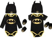 Wholesale Long Sleeve Batman Baby Onesies - Baby Romper+Hat+Socks 3pcs suit Pure Cotton Batman Toddler Infant Children Clothes long&short sleeve Rompers Onesies Jumpsuit kids