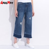 Wholesale High Waist Distressed Jeans - Distressed Jeans Femme Wide Leg Denim Capri Hole Pants Loose Jeans With High Waist Tassel Ripped Jeans For Women GAREMAY 1612
