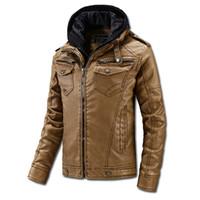 Wholesale Leather Hooded Biker Jacket Men - 2016 Men Winter Coat PU Leather Jacket Biker Motorcycle Jackets Cashmere TopsThicken Warm Outwear Overcoat Waterproof Windbreak