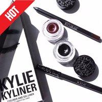 Wholesale Gold Gel Eyeliner - 6 types Kylie brithday edition eyeliner kit gold kyliner eyeliner+ gel+Brush set black  brown chameleon bronze