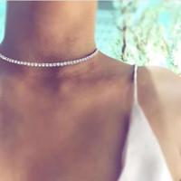 Wholesale Jade Beads Jewellery - Simple Design Crystal Beads Choker necklace women Statement necklace Sparkly Rhinestone chocker wedding jewellery