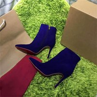 Wholesale Purple Rhinestone Heels - 2017 Hot Sale Paris High-heeled Zipper Women Winter Boots Short Shoes Suede Rivet Violet Luxurious Brand Boots Ankle Boots
