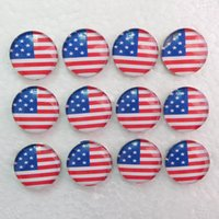 Wholesale Cheap Usa Flags - G009 30pcs USA Flag noosa chunks glass ginger snaps jewelry snap buttons snap jewelry cheap