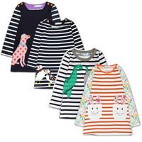 saltadores de bebé largos al por mayor-Hooyi Wholesale Baby Dresses 100% Algodón Chica Blusas Bordado Otoño Largo Niños Tops Jumpers Niños Sudaderas Camisa de la raya