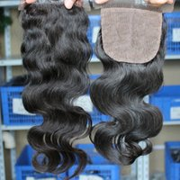 Wholesale Cheap Silk Based Closures - Top Wavy Brazilian Silk Based Closures Cheap Human Hair Brazilian Body Wave Silk Base Lace Closure Bleached Knots Free Middle Three Part