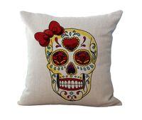 Wholesale Skull Seat Covers - 45X45cm Skull Pillow case Cotton Linen Blend Cushion Cover Car Chair Seat Cushion case Home Textile