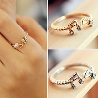 Vente en gros - 2017 New Hot Fashion Cheap Good Quality Note de musique ajustable Anneaux en strass Lovely Open Finger Rings Women