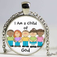 Wholesale god piece - 1 piece lot new silver I am a child of god picture pocket pendant necklace pendant of woman children gift