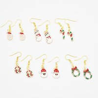 Wholesale Santa Claus Plates - 6 Style High Quality 20 pairs Gold Christmas Dangle Earrings Santa Claus Snowflake Gift Earrings DIY Jewelry Gifts for Girls