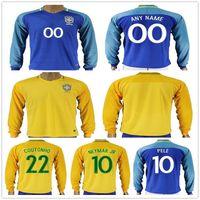 Wholesale Mens Soccer Shirts - Mens Brazil Long Sleeve Football Jersey Shirt 10 NEYMAR JR PELE RONALDINHO COUTONHO DAVID LUIZ MARCELO Yellow Blue Home Away Soccer Jerseys