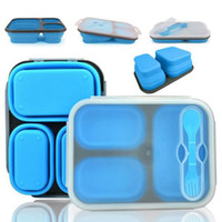Wholesale Lunchbox Container - Silicone Collapsible Portable Lunch Boxes Bowl Bento Boxes Folding Food Storage Container Lunchbox Eco-Friendly