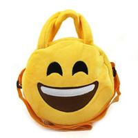 Wholesale circular wall - Emoji Messenger Bags For Children Plush Yellow Circular Crossbody Bag Multi Function Storage Handbags Many Styles Adjustable Size 7 5hm C R