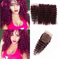 Wholesale Brazilian Hair Tight Curls - Burgundy Virgin Brazilian Human Hair Weaving 3Pcs Tight Deep Curly Wine Red Hair Weave 99J Kinky Curl Hair Bundle