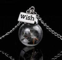 Wholesale wholesale glass seed bead - Glass bottle necklace Natural dandelion seed in glass long necklace Make A Wish Glass Bead Orb silver plated Necklace jewelry G125