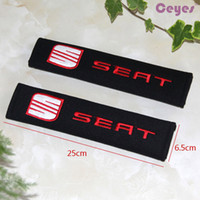 Wholesale Black Car Seat Covers - Car Seat Belt Cover for Seat leon ibiza altea alhambra Shoulder Pad Safety Belt Cover Car Accessories Styling 2PCS LOT
