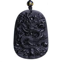 obsidien muska kolye toptan satış-Benzersiz Doğal Siyah Obsidian Oyma Ejderha Şanslı Muska Kolye Kolye Kadınlar Ve Erkekler Için kolye Moda Takı HEDIYE
