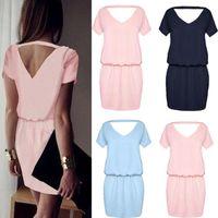 Wholesale Mini Tunic - Popular fashion women's short sleeve tunic summer V back casual Dress mini party vestidos