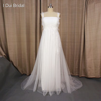 Wholesale Training Suits For Women - Empire Wedding Dresses Romantic Tulle Lace A line Suit for Pregnant Woman Factory Custom Made Real Photo