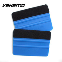 Wholesale- 2Pcs Squeegee Car Film Tool Vinyl Blue Plastic Scraper Squeegee Avec Soft Felt Edge Window Glass Decal Applicator