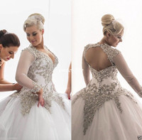 Wholesale bridal wedding dress rhinestone for sale - 2017 Modest Long Sleeves Wedding Dresses Rhinestones Crystals Plunging Beaded Bridal Dress Backless Sheer Ball Gown Plus Size Wedding Gowns